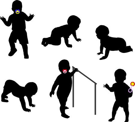 Photo pour babies silhouettes - image libre de droit