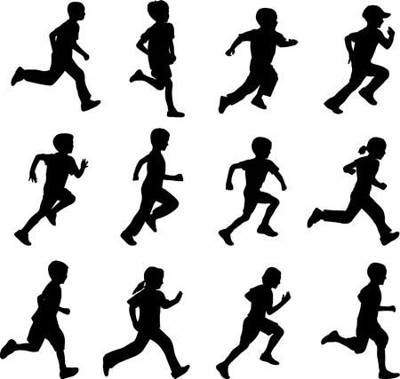 children running silhouettes