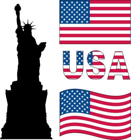 statue of liberty and USA flag