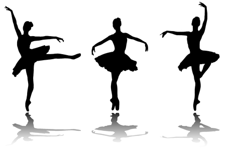 Illustration for elegant ballerinas silhouettes - vector - Royalty Free Image