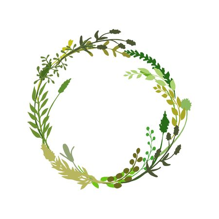 Illustration pour Floral wreath made of grass in circle. Hand drawn wild herbs and flowers. Botanical illustration. Great to place text, quote. Round frame or border. Vector - image libre de droit