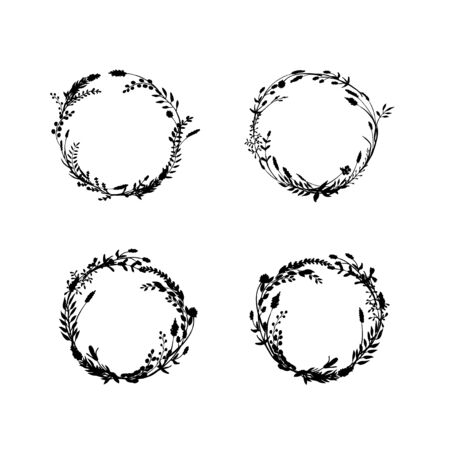 Illustration pour Sketch wreath set made of ink drawn wild plants, flowers and herbs. - image libre de droit