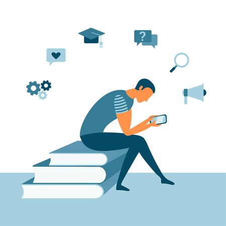 Illustration for Online reading with a man sitting on books and using a smartphone. Mobile app concept for learning or reading. Education concept. Vector student design - Royalty Free Image