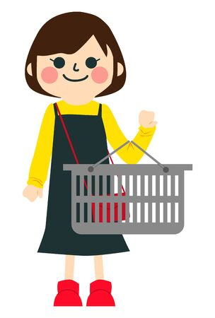 Illustration for a girl is Shopping in supermarket. - Royalty Free Image