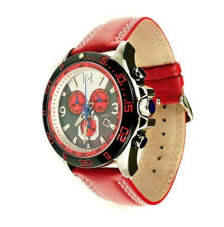 Stylish red leather men's sports watch over white