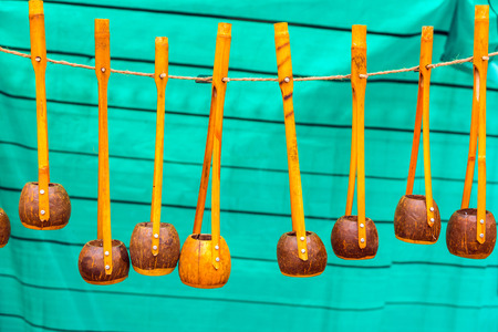 Many wooden Ektara instruments hanging in display for sale. These instruments are used in classical Baul folk music in India.
