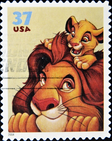UNITED STATES - CIRCA 2004: stamp printed by United states of America shows cartoon, Disney Characters, Mufasa, Simba, circa 2004