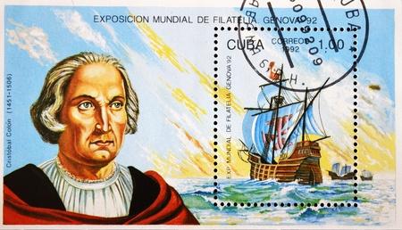 CUBA - CIRCA 1992: A stamp printed in Cuba shows the frigate ship of Christopher Columbus, circa 1992