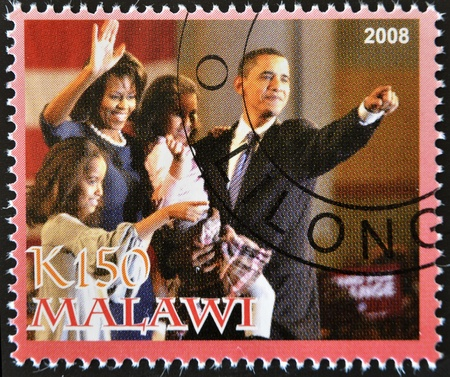 MALAWI - CIRCA 2008: A stamp printed in Malawi shows the 44th President of United States of America, Barack Obama and your family, circa 2008
