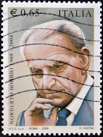 ITALY - CIRCA 2009: Stamp celebrating the birth of famous italian writer Norberto Bobbio circa 2009