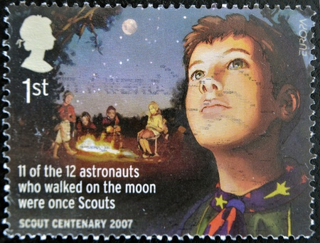 UNITED KINGDOM - CIRCA 2007: A stamp printed in Great Britain celebrating the centenary of the scout, circa 2007