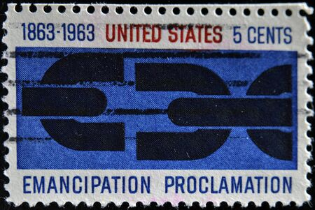 UNITED STATES OF AMERICA - CIRCA 1963 : A stamp printed in the USA shows Emancipation Proclamation, circa 1963