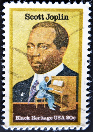 USA - CIRCA 1997 : stamp printed in USA shows Scott Joplin American composer and pianist, black heritage, circa 1997