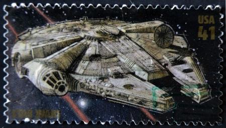 UNITED STATES - CIRCA 2007: stamp printed in USA shows Star Wars, Millennium Falcon, circa 2007