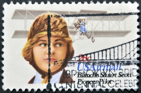 UNITED STATES OF AMERICA - CIRCA 1980: A stamp printed in the USA shows image of Blanche Stuart Scott, the aviation pioneer, circa 1980