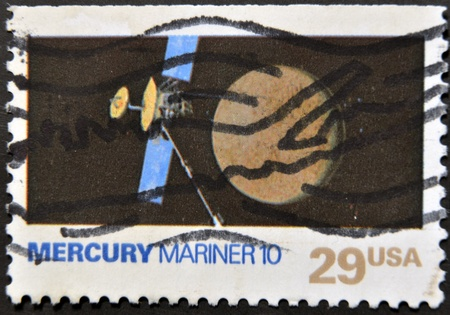 UNITED STATES OF AMERICA - CIRCA 1991: A stamp printed in USA shows mercury mariner 10, circa 1991