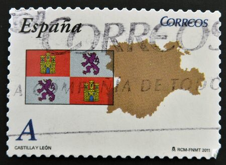 SPAIN - CIRCA 2011: A stamp printed in spain shows flag and map of the autonomous community of Castilla y Leon, circa 2011