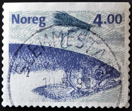 NORWAY - CIRCA 1999: A stamp printed in Norway shows image of a salmon, circa 1999