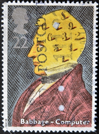 UNITED KINGDOM - CIRCA 1991: a stamp printed in the Great Britain shows Charles Babbage, computers, circa 1991