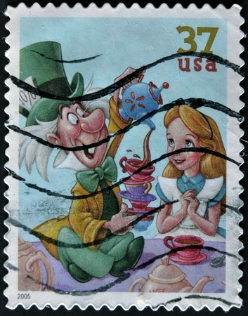 UNITED STATES - CIRCA 2005: stamp printed in USA shows cartoon, Disney Characters, Mad Hatter, Alice, circa 2005