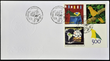 BRAZIL - CIRCA 2000: A postacr printed in Brazil dedicated to 500 anniversary of the discovery of Brazil, circa 2000