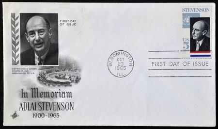 UNITED STATES OF AMERICA - CIRCA 1965 :a postcard  printed in USA showing Adlai Stevenson American politician, circa 1965