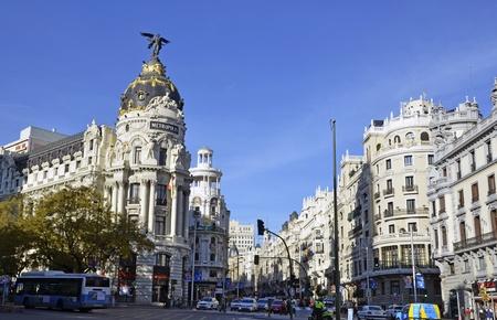 A view of Gran Via, in Madrid, Spain