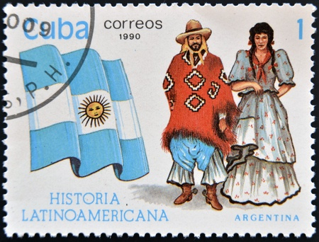 CUBA - CIRCA 1990: A stamp printed in Cuba dedicated to Latin American history, shows typical costume and flag of Argentina, circa 1990