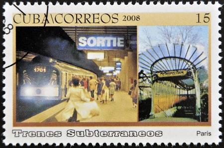 CUBA - CIRCA 2008: A stamp printed in Cuba dedicated to subways, shows Paris subway, circa 2008