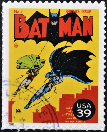 UNITED STATES OF AMERICA - CIRCA 2006: stamp printed in USA shows Batman and Robin, circa 2006