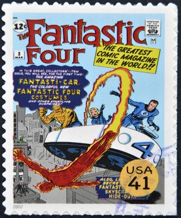 UNITED STATES OF AMERICA - CIRCA 2007: stamp printed in USA shows Fantastic Four, circa 2007