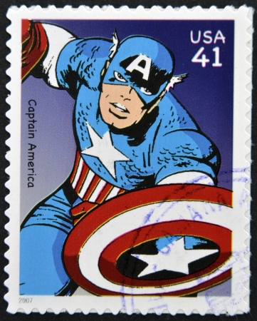 UNITED STATES OF AMERICA - CIRCA 2007: stamp printed in USA shows Captain America, circa 2007