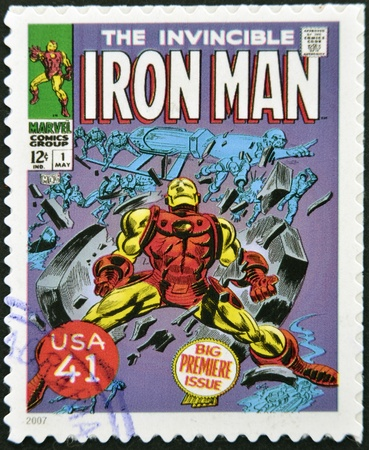 UNITED STATES OF AMERICA - CIRCA 2007: stamp printed in USA shows Iron Man, circa 2007