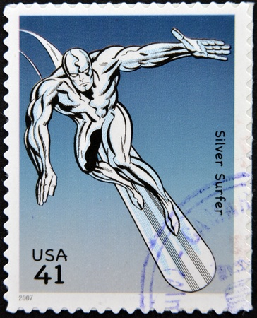 UNITED STATES OF AMERICA - CIRCA 2007: stamp printed in USA shows Silver Surfer, circa 2007