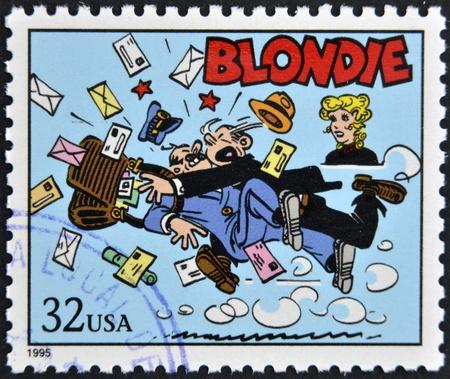 UNITED STATES OF AMERICA - CIRCA 1995: A stamp printed in USA dedicated to comic strip classics, shows Blondie, circa 1995