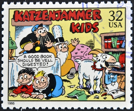 UNITED STATES OF AMERICA - CIRCA 1995: A stamp printed in USA dedicated to comic strip classics, shows katzenjammer kids, circa 1995