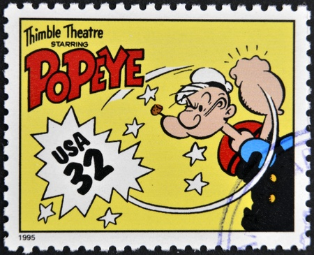 UNITED STATES OF AMERICA - CIRCA 1995: A stamp printed in USA dedicated to comic strip classics, shows Popeye, circa 1995