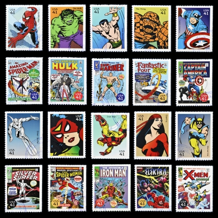 UNITED STATES OF AMERICA - CIRCA 2007: stamp collection printed in USA shows marvel comic superhero, circa 2007