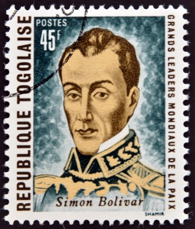 REPUBLIC OF TOGO - CIRCA 1969: A stamp printed in Togo dedicated to great world leaders of peace, shows Simon Bolivar, circa 1969