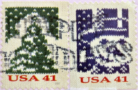 UNITED STATES OF AMERICA - CIRCA 2007: A stamp printed in USA shows Knit Christmas Tree and knit snowman, circa 2007