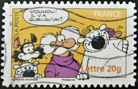 FRANCE - CIRCA 2006: A stamp printed in France shows Cubitus, fictional dog character, circa 2006