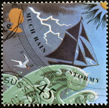 UNITED KINGDOM - CIRCA 2001: a stamp printed in Great Britain shows image of a barometer forecasting rain/stormy weather, circa 2001