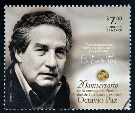 MEXICO - CIRCA 2010: A stamp printed in Mexico shows Octavio Paz, Nobel Prize for Literature, circa 2010