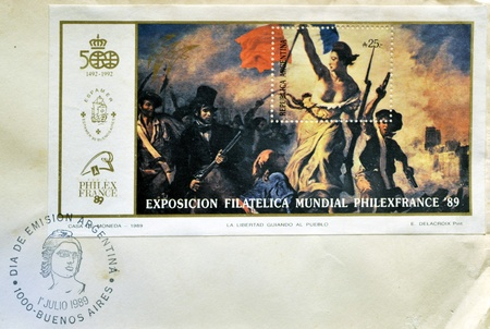 ARGENTINA - CIRCA 1989: A stamp printed in Argentina shows the Liberty Leading the People, painting by Eugene Delacroix, circa 1989