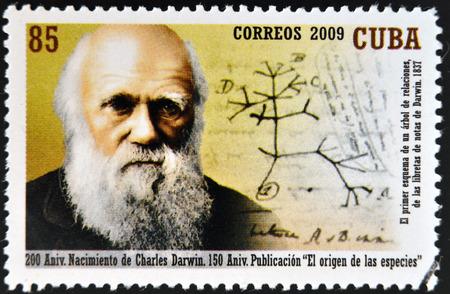 CUBA - CIRCA 2009: a stamp printed in Cuba shows an image of Charles Darwin, circa 2009