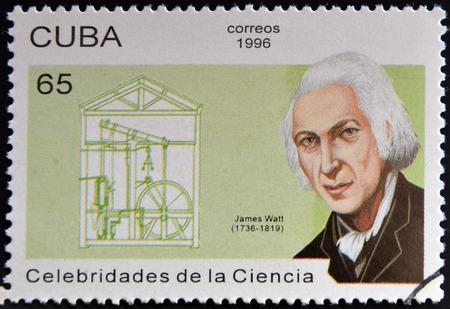 CUBA - CIRCA 1996: a  stamp printed in Cuba shows an image of James Watt, circa 1996.