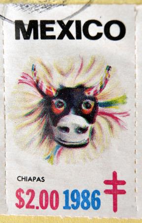 MEXICO - CIRCA 1986: A stamp printed in Mexico shows Mexican mask, Chiapas, circa 1986