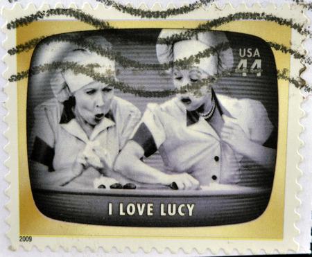 UNITED STATES OF AMERICA - CIRCA 2009: A stamp printed in USA Celebrates Classic TV shows I love Lucy, circa 2009