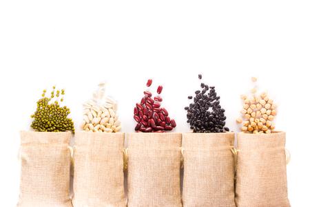 Foto de Different types of grains on white background - Imagen libre de derechos