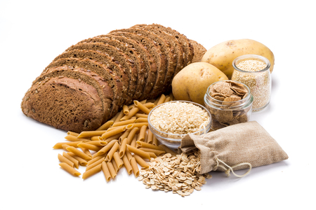 Photo for Group of whole foods, complex carbohydrates isolated on a white background - Royalty Free Image